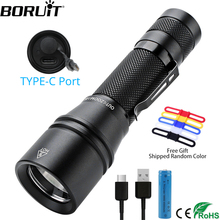 BORUiT YC25 T6 LED Flashlight High Power 1000lm Torch 5 Mde Zoom Bicycle Light Powerful Lantern 18650 Type c Rechargeable Lamp