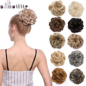 Snoilite 35 цветов эластичная лента шиньон Наращивание волос Синтетические резинки пучки волос Updo пончик накладные волосы шиньон для женщин