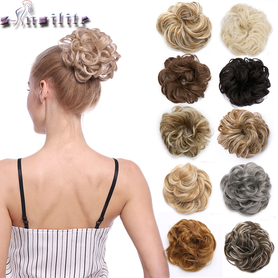 Snoilite 35color Elastic Chignon Hair Extension Synthetic Scrunchies Bun Hair Updo Donut Fake Hair Hairpiece For Women