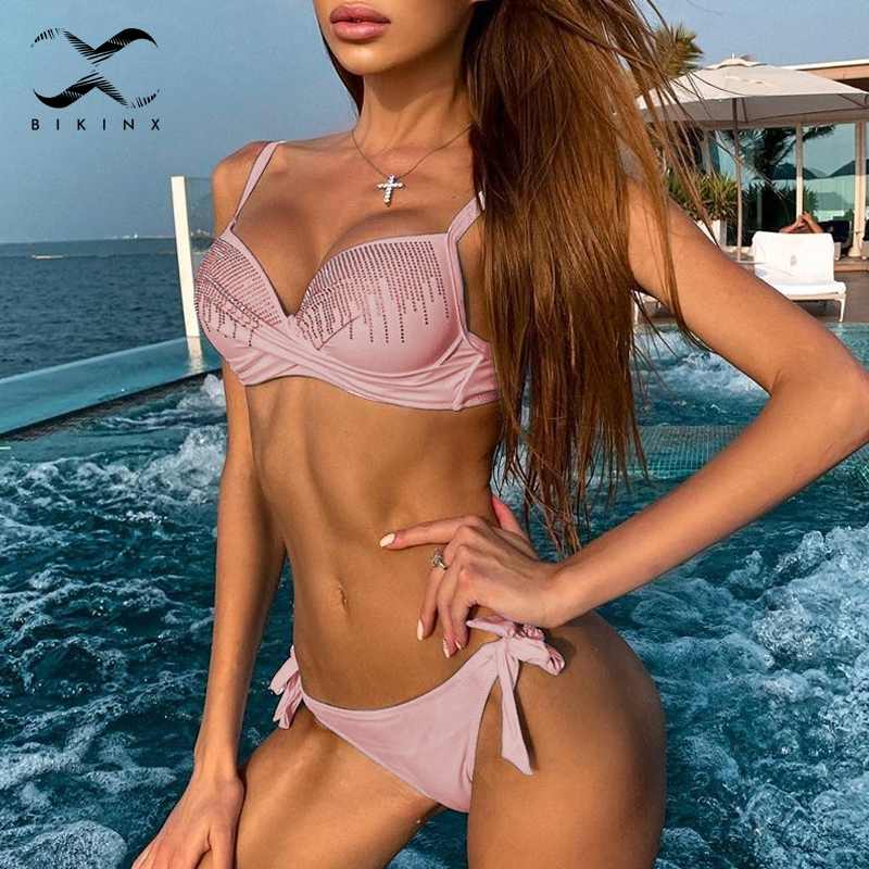 Sexy Rhinestone Bikini 2020 Push Up Swimsuit Female Knot Bathing Suit Brazilian Bikini Summer Bathers Beach Swimwear Women New