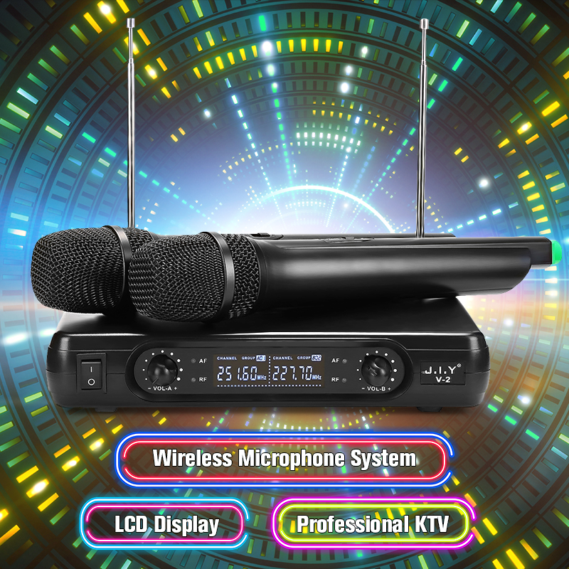 2 Channel Dual Cordless Handheld Mic Wireless Microphone System With LCD Display High-fidelity Stability Large Receiving