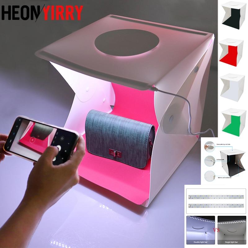 2 LED Folding Lightbox 30*30 Portable Photography Photo Studio Softbox Adjustable Brightness Light Box For DSLR Camera
