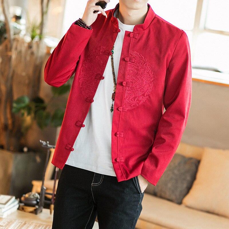 2020 Traditional Men Chinese Clothing Men Cheongsam Shirt Kung Fu Pattern Tang Chinese Style Loose Linen Tang Suit Hanfu Top