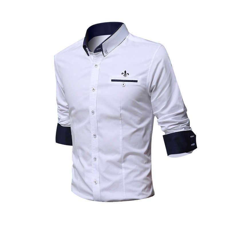 Fashion Kemeja Putih) Camisa Sosial Masculina Dudalina Lengan Panjang Slim Fit Kemeja Pria Floral Pakaian Pullover Pria Kulit Putih Dingin