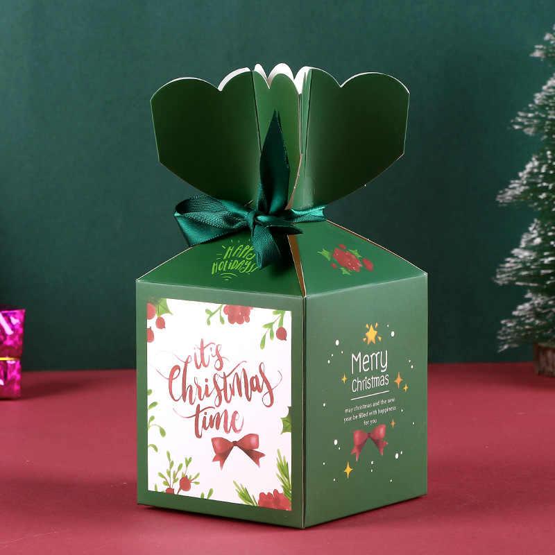 1 stücke Grün Farbe Frohe Weihnachten Party Zeit Papier Geschenk Boxen Mit Band Santa Claus Weihnachten Candy Boxen