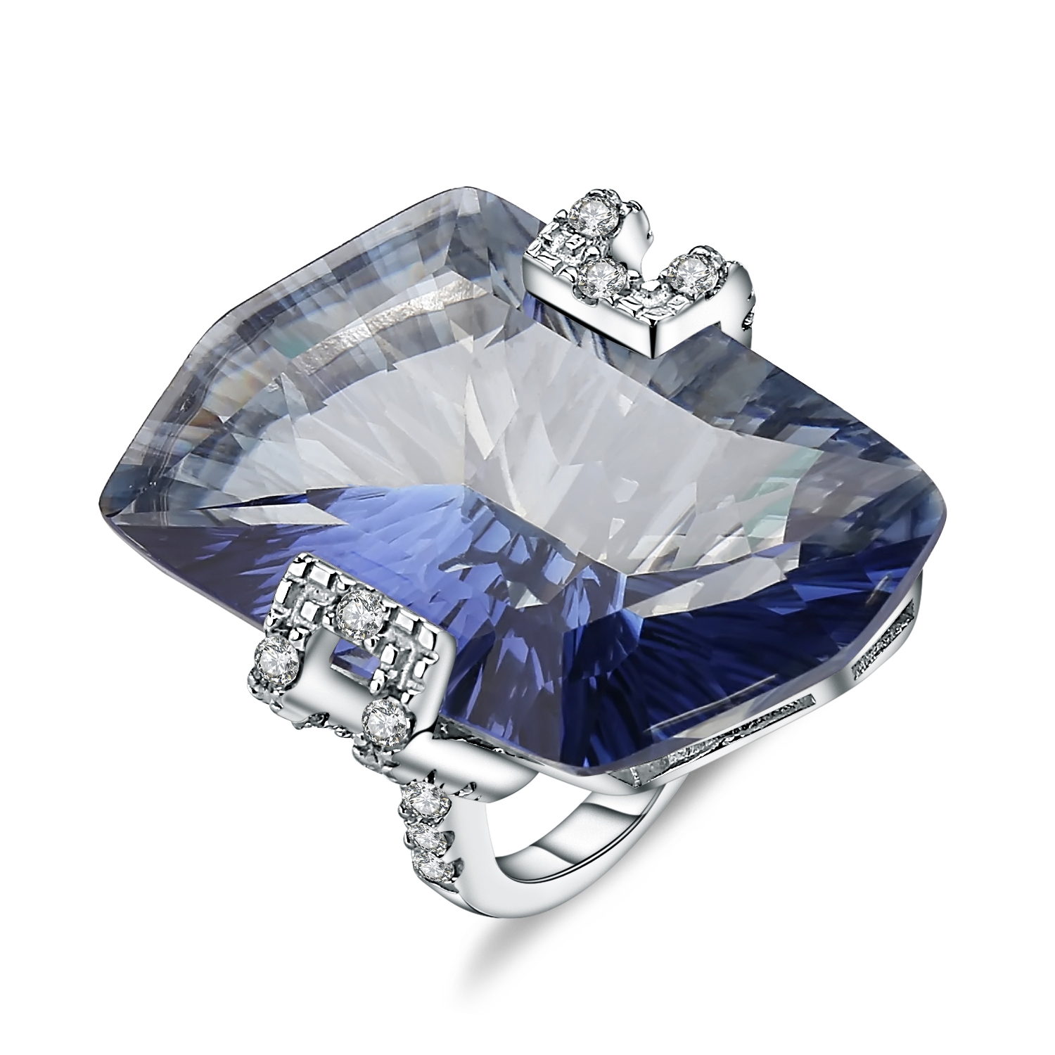 Gem's Ballet 925 Sterling Silver Cocktail Rings 21.20Ct Natural Iolite Blue Mystic Quartz Gemstone Ring For Women Fine Jewelry