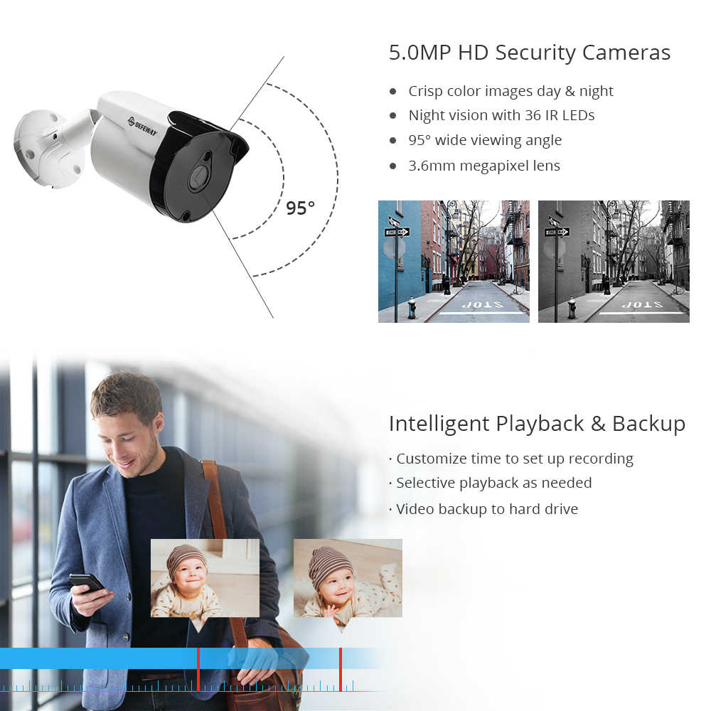 DEFEWAY 8CH HD 5.0MP 비디오 감시 H.265 + CCTV 홈 보안 카메라 시스템 4PCS IP66 방수 카메라 IR 야간 투시경