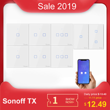 Sonoff tx T0 us/eu/英国1/2/3 gang wifiウォールライトスイッチパネルタッチ/音声/アプリ制御eweilinkスマートホームオートメーションalexa ifttt