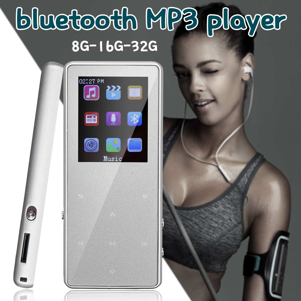 Portable 8G 16G 32G Bluetooth Lossless MP3  MP4 Music Player FM Radio Voice Recording Sound Vedio With Earphone Support TF Card