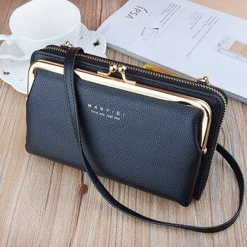 Damski ekran dotykowy saszetka na telefon komórkowy przezroczysta prosta torba nowe portfele z Hasp Cross Smartphone skórzane torebki na ramię