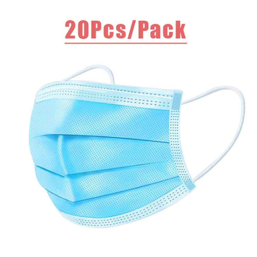 20pcs Disposable Face Mask Anti-Dust Mascherina Protective Of  Mask 3 Layers Anti Virus Mask
