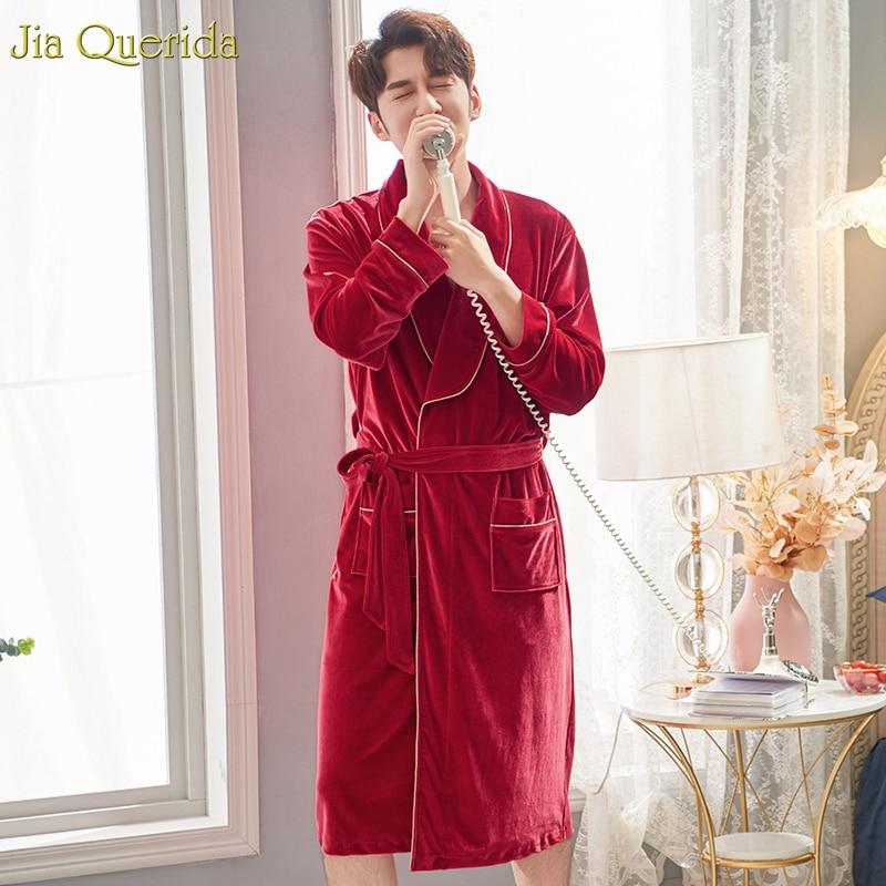 Robe For Men Velvet Winter Bathrobe Quality Soft Mens Kimono Robe Red Chinese Wedding Velvet Kimono Warm Home Gown Bath Robe New
