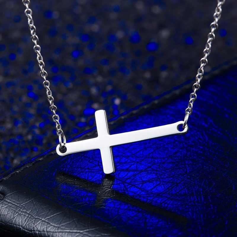 ZPAMS acier inoxydable Choker argent/or/or rose couleurs croix collier ras du cou la chaîne Chokers collier pour les femmes en gros