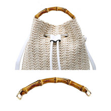 18cm Bamboo Bag Handles Luggage Accessories Metal Buckles Bags Strap Wooden Purse Frame Kiss Clasp Wallet Connector DIY Parts
