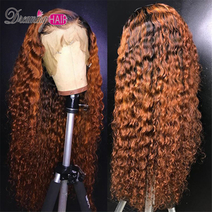 Honey Blonde Ombre Curly Lace Front Human Hair Wigs With Baby Hair 13x6 Orange Brazilian Frontal Closure Wig For Black Women(China)