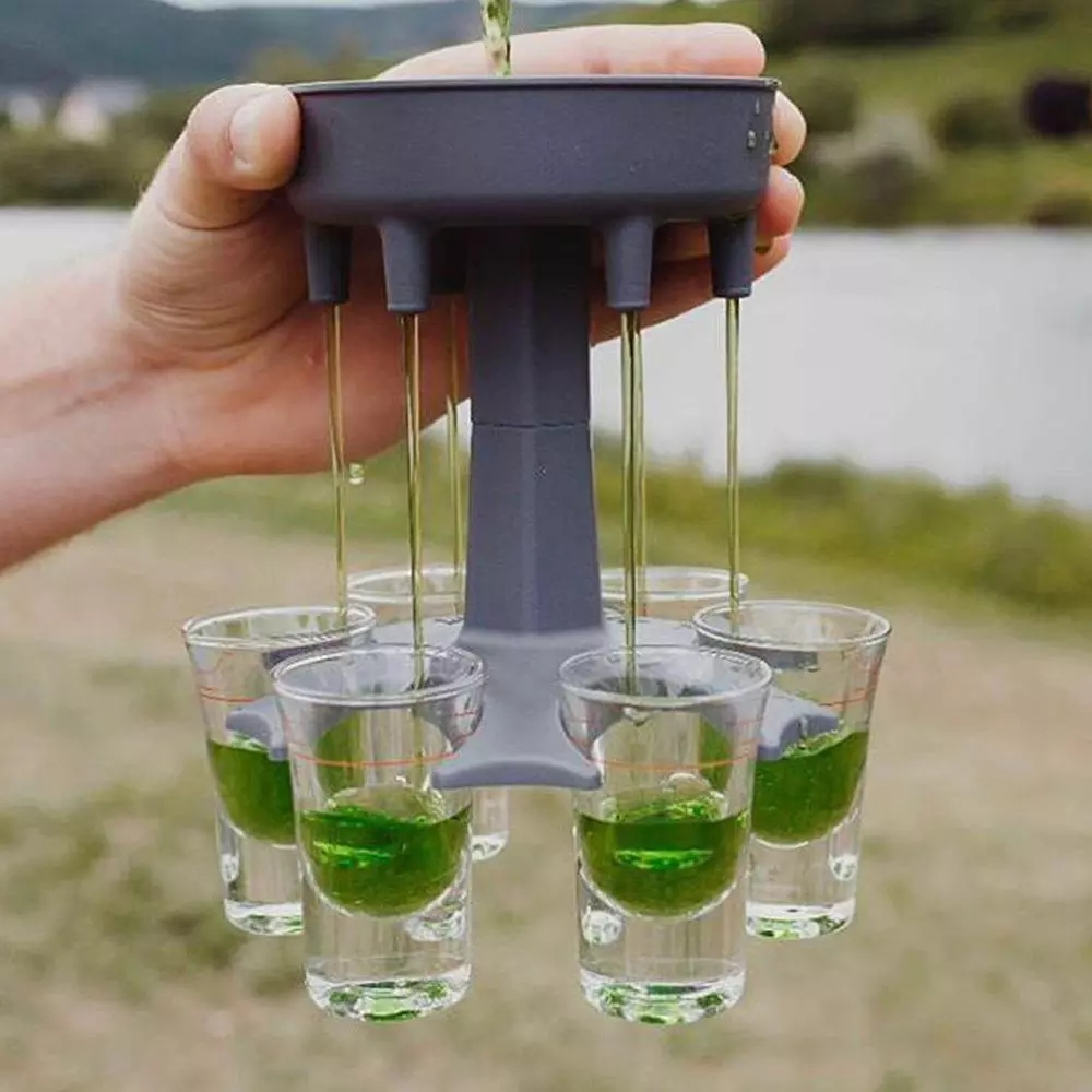 6 Shot Glass Dispenser Holder Liquor Party Gifts Bar Drinking Games Wine cup us