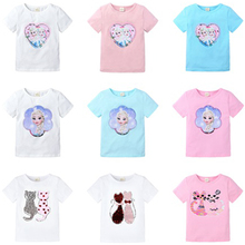 цена на 2-8T Princess Anna Elsa Cute Baby Girls T Shirt Cotton Double-Sided Pattern Sequin Clothes Cartoon O-neck Tops Star Boys T-shirt