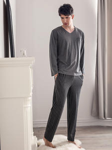 Pajamas Sleeping-Suits Men Sleepwear Modal Long-Sleeves for Fashion Classy Hombre Plain