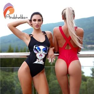 Image 2 - Andzhelika 女性新ワンピーススポーツ水着夏水着ソフトカップボディスーツ X 字型バック水着水着モノキニ