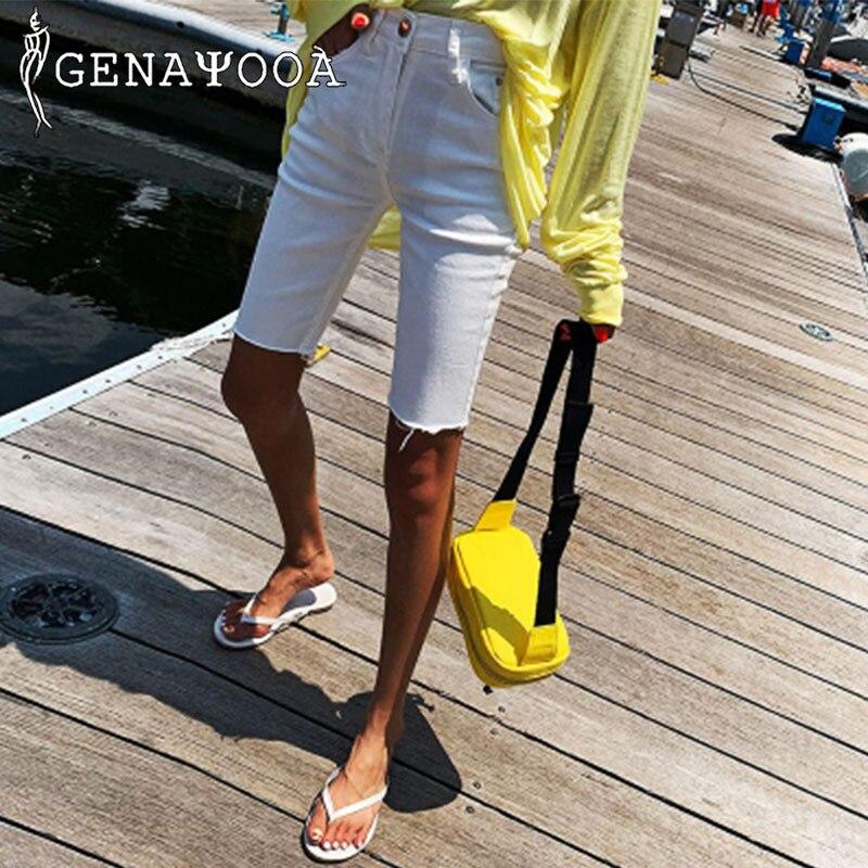 Genayooa Street Style Skinny Biker Shorts Women Jeans Denim Elastic White Korean Steetwear Short Feminino 2020 Summer Fashion