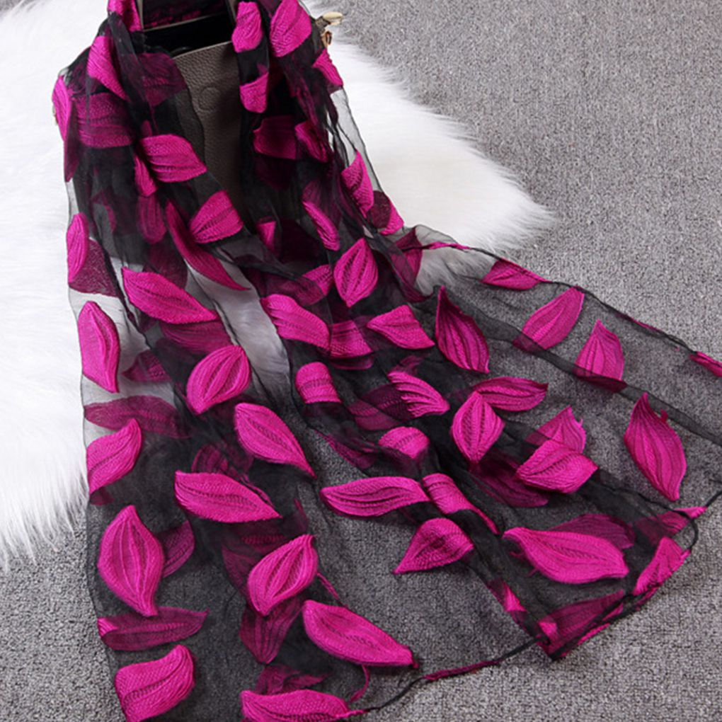 Women Girls Leaves Jacquard Organza Scarf Shawls Summer Sunshade Beach Scarves Wraps 65x170cm
