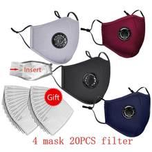 20 pces filtro + 4 pces máscara facial anti-poluição pm2.5 filtro máscaras de poeira lavável unisex máscaras de algodão reutilizáveis