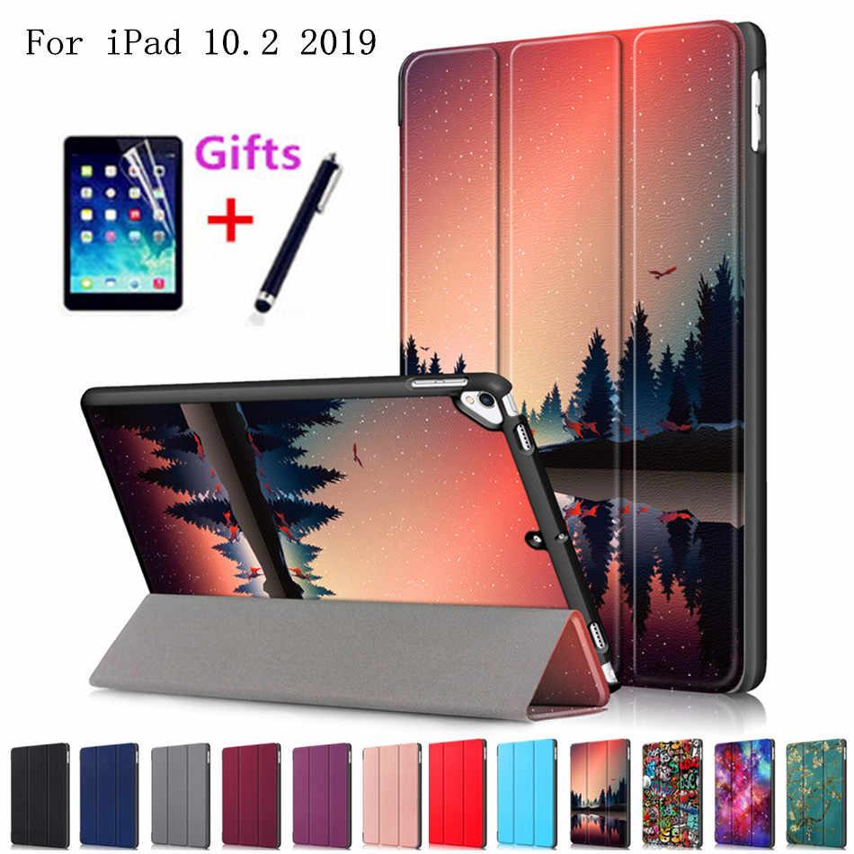 Funda para iPad 10,2 2019 7th Generation A2200 A2198 A2232 Smart Cover Funda soporte plegable magnética + Protector de pantalla + pluma