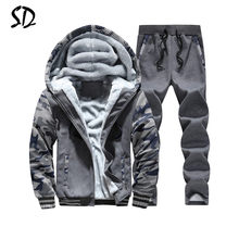 Tracksuit Men Plus Velvet Camouflage Army Casual Hooded Warm Hoodie Men Winter Thick Inner Fleece 2PC Pant Men Moleton Masculino(China)