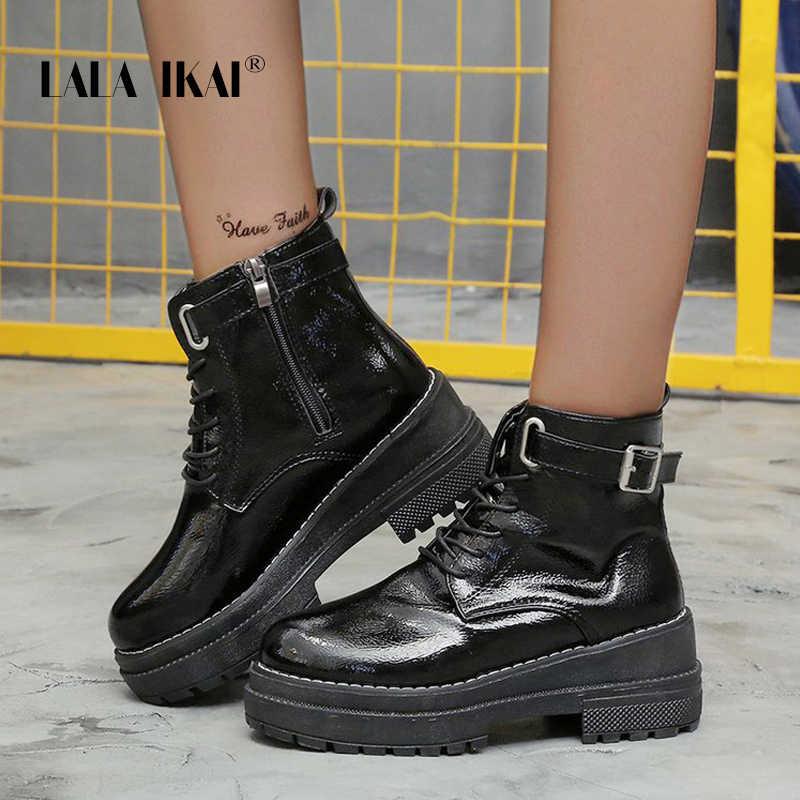LALA IKAI 2019 kış kadın ayakkabı yuvarlak ayak düşük topuklu Pu deri yarım çizmeler fermuar siyah toka ayakkabı yüksek kalite XWA10007-4