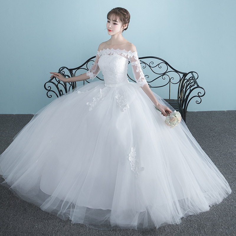Vestidos De Novia 2019 New Boat Neck Bride Married Dress Long Sleeve Simple Large Size Ball Gowns Tulle Wedding Dresses