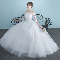 Vestidos de novia 2019 new Boat Neck bride married dress long sleeve simple large size Ball Gowns Tulle Wedding Dresses