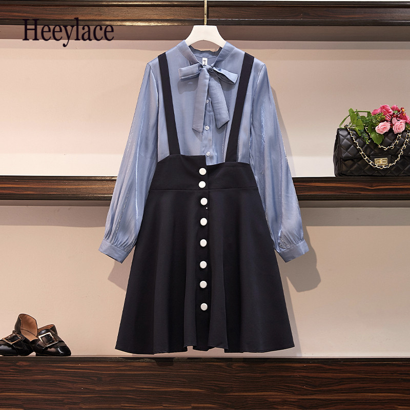 Plus Size 2019 Fall Bow Collar Rubble Sleeve Shirt And High Waist Straps Skirt Two Piece Suits Femme Office Lady Dress Sets