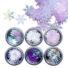 2019 Snowflakes Slices Glitter Nails Art Decorations DIY Fashion Christmas Charm Sequins Nail Accessory