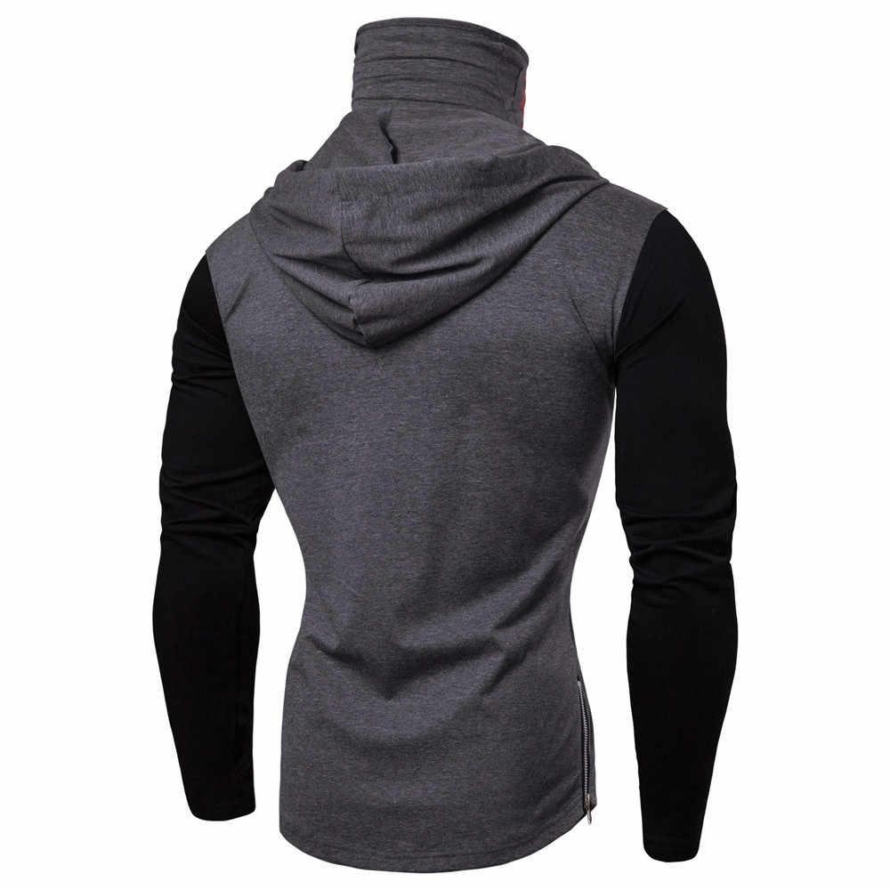 Solid Hoodies Mens Mask Skull เสื้อกันหนาว Splicing Pullover แขนยาว Hooded Sportshirt Men Tracksuits Stylish Design # Ger