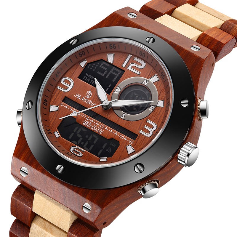 Relógio de madeira real masculino relógio de pulso de madeira natural masculino relógio de pulso duplo tempo display digital relógio de pulso de madeira