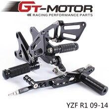 GT מנוע מלא CNC אלומיניום אופנוע מתכוונן Rearsets האחורי סטי רגל יתדות עבור ימאהה YZF R1 2009 2014