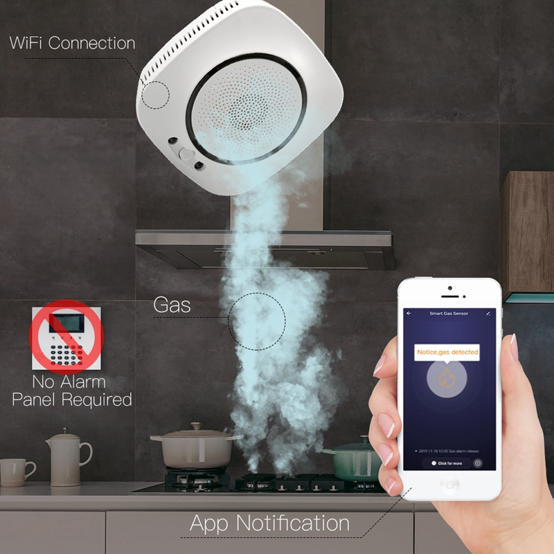 WiFi Smart Gas Leakage Fire Security Detector Gas Combustible Alarm Sensor Smart Life Tuya App Control Home Security System US P