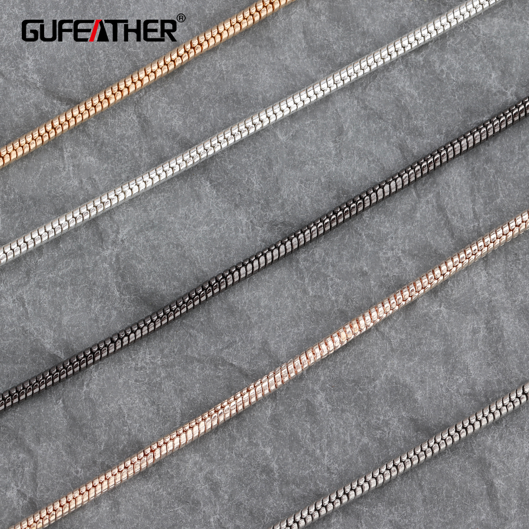DIY chain gold silver black snake chain Fine chain Bracelet necklace making materials 1.2mm (0.047) 100cm