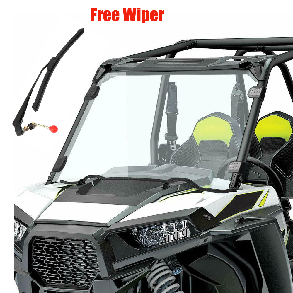 UTV Full Windshield Windscreen W/ Free Wiper For Polaris RZR 1000 XP 4 1000 2014-2018  2015 2016 2017 1/4 Thick Shock Resistance
