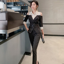 2019 Fall Clothes Off-shoulder Black Blouse and Ankle-Length Pants Elegant 2 Piece Set Print Striped Work Office Two