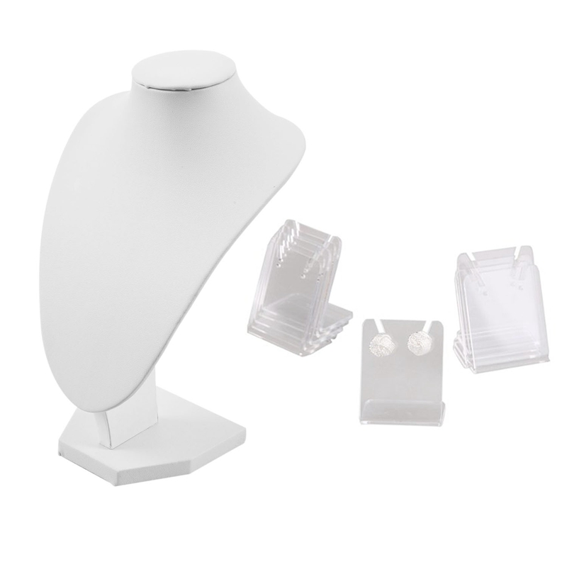 11 Pcs Accessories: 10 Pcs Showcase Display Stand Earring & 1 Pcs Jewelry Stand Portrait Model Necklace Display White
