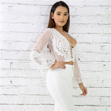 Meihuida Women Sexy See-Through Crop Tops Transparent Lace Mesh V-Neck Long Sleeve Chiffon Floral Sheer Bandage Shirts(China)