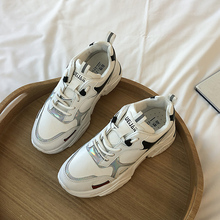 YeddaMavis Shoes White Daddy Women Sneakers New Korean Thick Bottom Lace Up Womens Woman Trainers