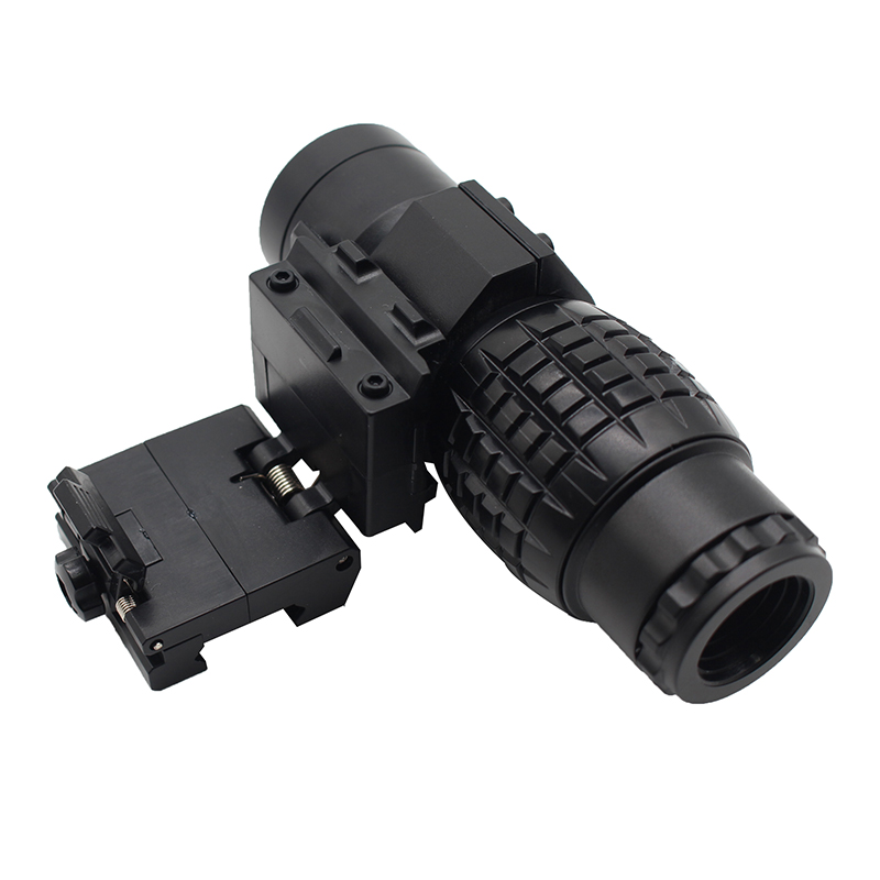 Outdoor 3x Magnifying Glass Telescope With Reversible Cover Suitable For Rifle Gun Track Mounting Toy 3x Side Flip <font><b>558</b></font> Black image