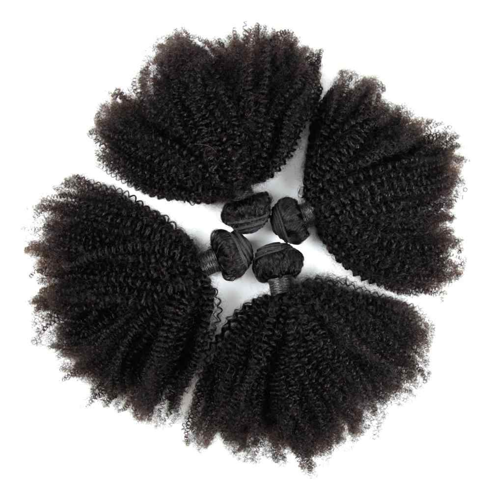 Indian Afro Kinky Curly Hair Bundles 4B 4C Human Hair Bundles 3/4 PCS 8-30inch Remy Hair Weave Extensions Can be Dyed