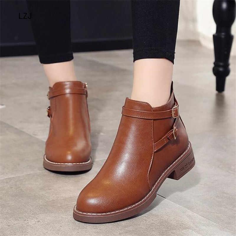 LZJ 2019 Kadın Ayak Bileği Martin Çizmeler Sonbahar Kadın rahat ayakkabılar Kadın Moda Platformu Yuvarlak Ayak Toka Rahat Sıcak Botlar