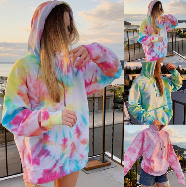 Rainbow Hoodies Women Sweatshirt Oversize Tie Dye Hoodie Streetwear Pullover Spring Autumn Casual Women Sweatshirts Hoddies Tops 3