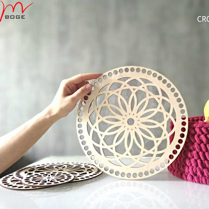 20 Pieces CROCHET BASKET Wooden Bottom Base Laser Cut Wood Crochet Accessories