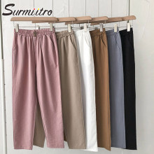 SURMIITRO Casual Cotton Pants Women 2021 Spring Summer Korean Style Ankle Length Female Pants High Elastic Waist Trousers