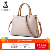 FOXER Elegant Fall Winter Bag Cowhide Leather Lady Handbag Simple Tote Female Large Capacity Purse Brand Messenger Bag for Women